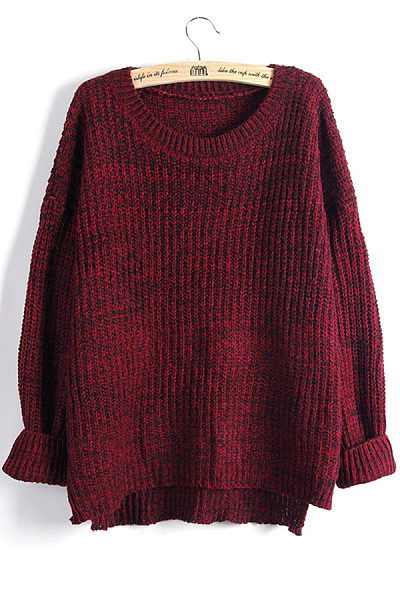 Round Neck  Asymmetric Hem  Assorted Colors Sweaters