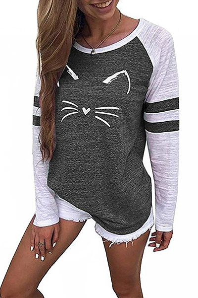 Casual Round Neck Cat Print T-Shirts