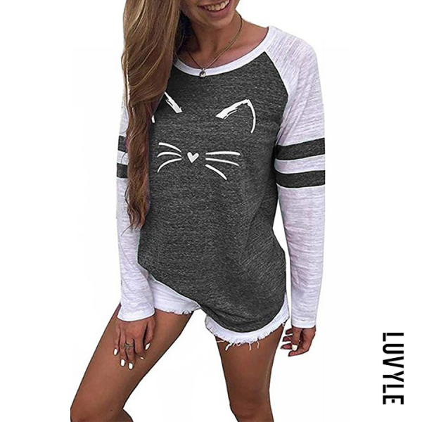 Gray Casual Round Neck Cat Print T-Shirts Gray Casual Round Neck Cat Print T-Shirts