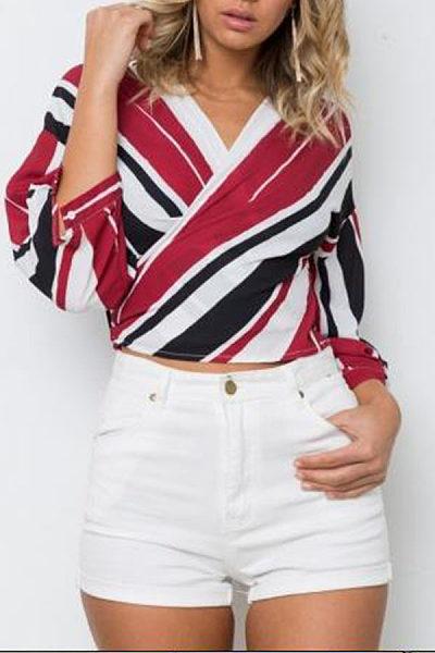 Surplice  Bowknot  Color Block Striped Shirts