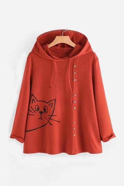 Casual Long Sleeve Printed Hooded Sweatshirt