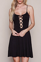 Black Cross Straps Plain Casual Dress