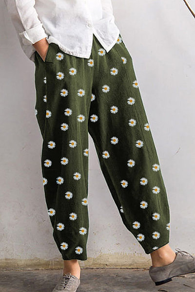 Daisy Printed Loose Casual Pants