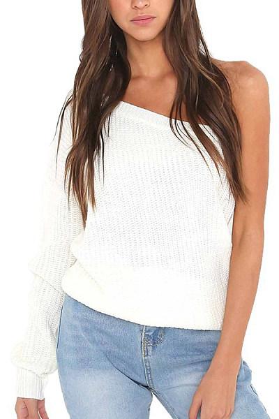 Open Shoulder  Plain Sweaters