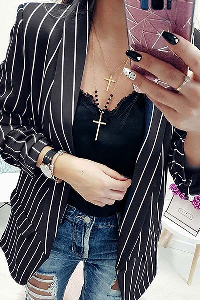 Fold Over Collar  Striped Blazers