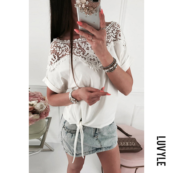 White Fashion Lace Stitching Short-Sleeved T-Shirts White Fashion Lace Stitching Short-Sleeved T-Shirts