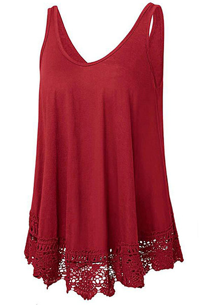 Round Neck Patchwork Lace Sleeveless T-shirt