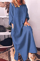 Cotton And Linen Solid Color Loose Long Dress