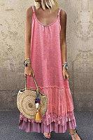 V-neck sleeveless solid dress