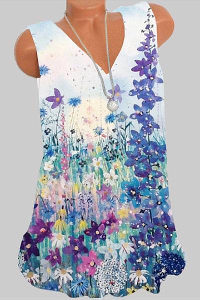 V Neck Floral Print Sleeveless T-shirt