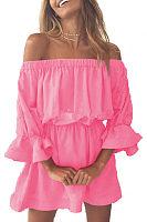 Off Shoulder  Plain  Bell Sleeve  Long Sleeve Casual Dresses