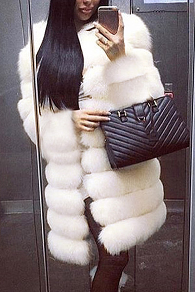 Noble Faux Fur Round Neck Pure White Medium Long Fluffy Coat