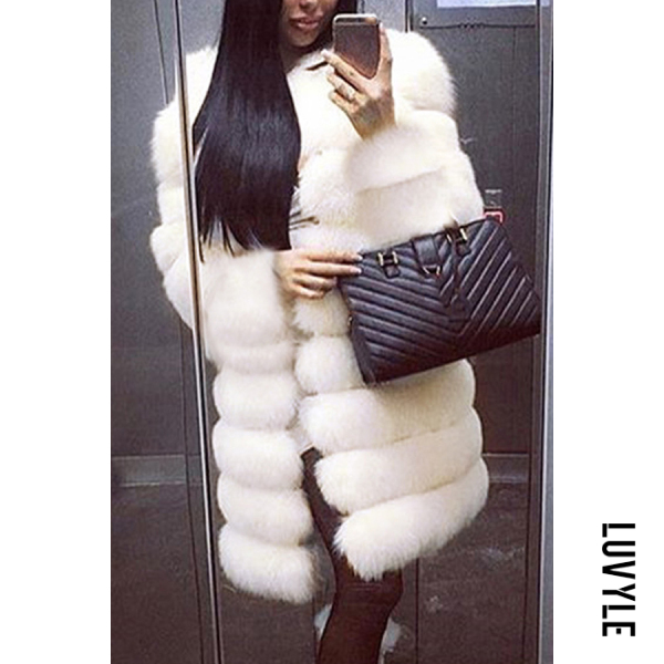 Noble Faux Fur Round Neck Pure White Medium Long Fluffy Coat - from $73.00