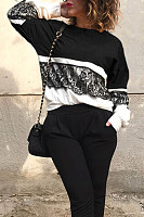 Round Neck  Decorative Lace  Color Block  Sweatshirts