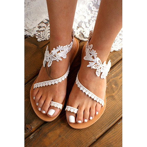 Lace Plain  Flat  Peep Toe  Date Travel Flat Sandals