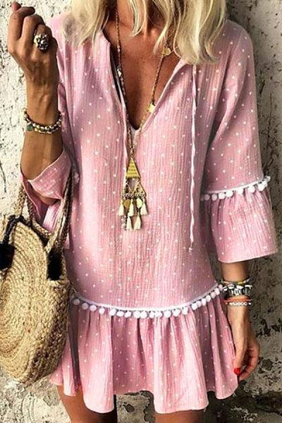 V Neck  Dot Casual Dresses