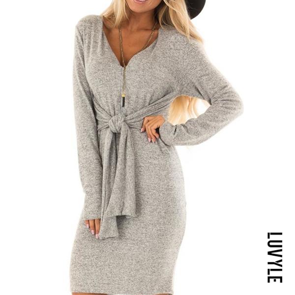 Gray V Neck Belt Plain Long Sleeve Bodycon Dresses Gray V Neck Belt Plain Long Sleeve Bodycon Dresses