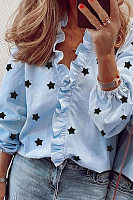 Ruffle Neckline Long Sleeve Star Blouse