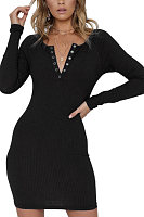 V Neck  Decorative Buttons  Plain  Long Sleeve Bodycon Dresses