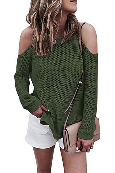 Off Shoulder  Plain Loose Sweaters