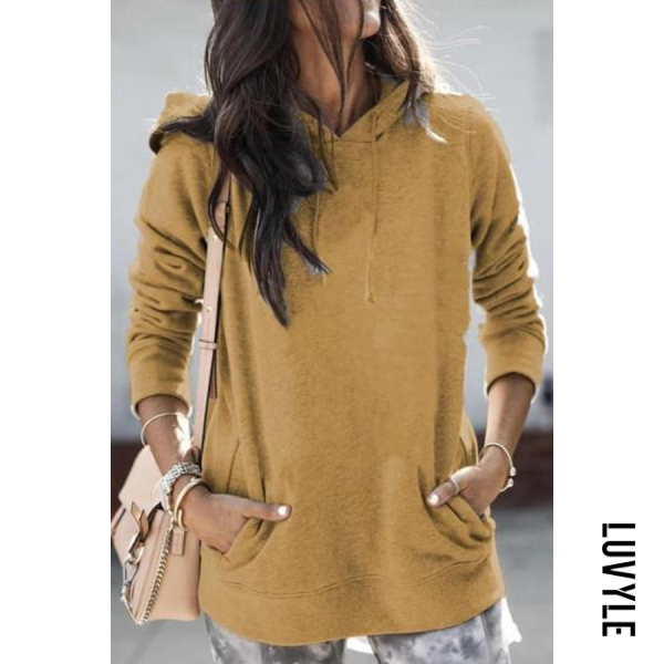 Yellow Solid Loose Pocket Casual Hoody Yellow Solid Loose Pocket Casual Hoody