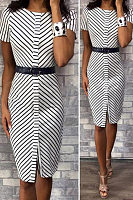 Round Neck  Asymmetric Stripe Bodycon Dresses