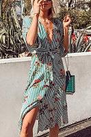 Deep V Neck  Belt  Floral Printed Striped  Half Sleeve Maxi Dresses