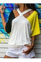 V Neck  Color Block T-Shirts