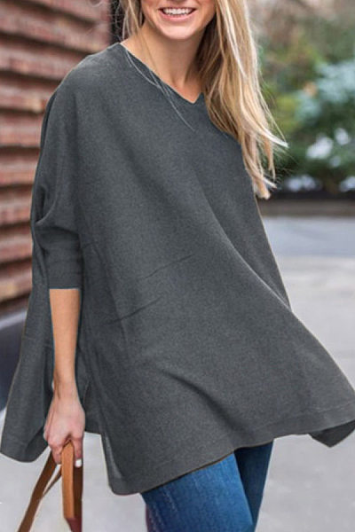 V Neck Plain Loose-Fitting T-shirt