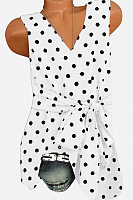 V Neck Dot Belt Sleeveless T-shirt