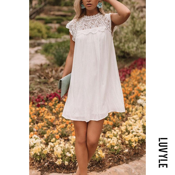 White Crew Neck Decorative Lace Casual Dresses White Crew Neck Decorative Lace Casual Dresses