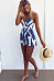 Spaghetti Strap Backless Color Block Playsuits