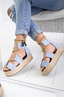Color Block  Peep Toe  Date Travel Wedge Sandals