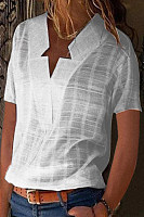 Asymmetric Neck  Plain Blouses