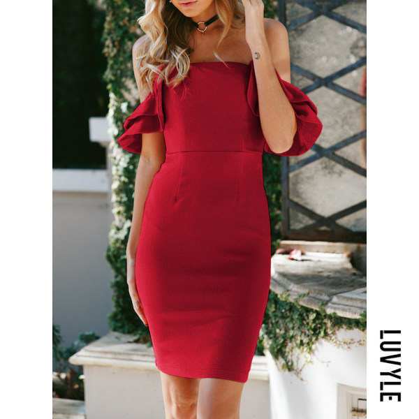 Red Open Shoulder Plain Bodycon Dress Red Open Shoulder Plain Bodycon Dress