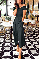 One-Shouldered Ruffled Skirt   With Wide-Legged Jumpsuit