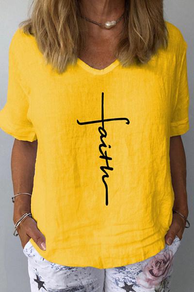 Christian Letters V Neck Loose T-shirt