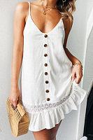 Spaghetti Strap  Single Breasted  Plain  Sleeveless Casual Dresses
