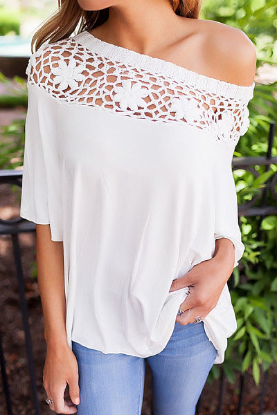 Decorative Lace  Plain T-Shirts