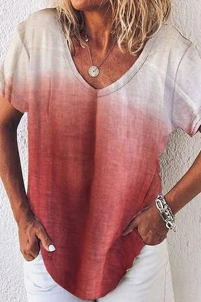 V Neck Gradient Casual T-Shirts