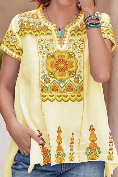 V Neck Embroidery Short Sleeve T-shirt