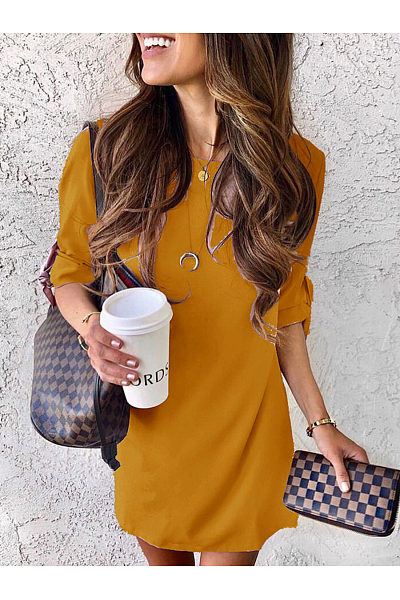 Round Neck Half Sleeve Casual Dresses