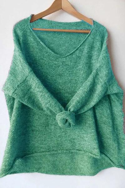 V Neck Plain Casual Knit Top