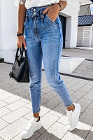 Womens High Waist Washed Jeans