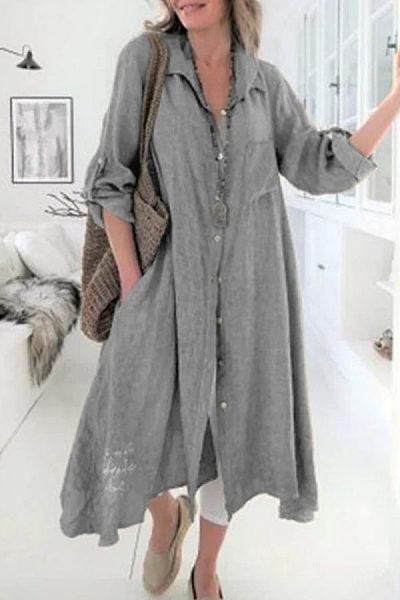 Turn Down Collar  Single Breasted  Plain  Long Sleeve Maxi Dresses
