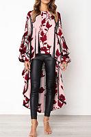 Stylish Round Neck Asymmetric Hem Floral Print T-Shirt Blouses