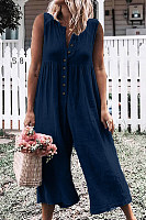 Round Neck  Plain  Sleeveless Jumpsuits