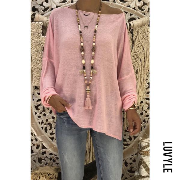 Pink Autumn Loose Pure Color Slant Shoulder Long Sleeve T-Shirt Pink Autumn Loose Pure Color Slant Shoulder Long Sleeve T-Shirt