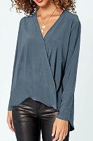 V Neck Cross-Style Long Sleeve Plain Casual T-Shirts
