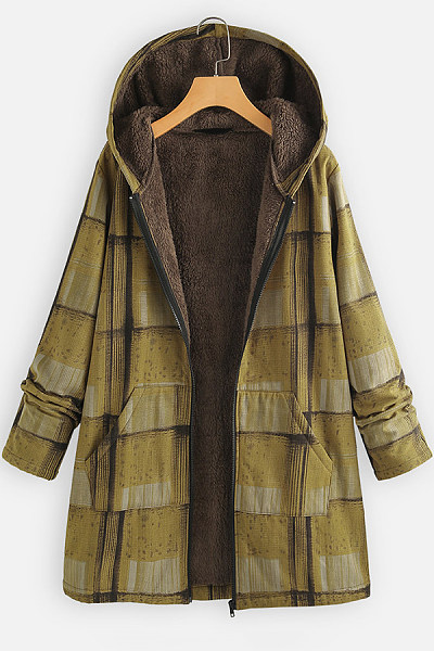 Hooded Long Sleeve Plaid Outerwear